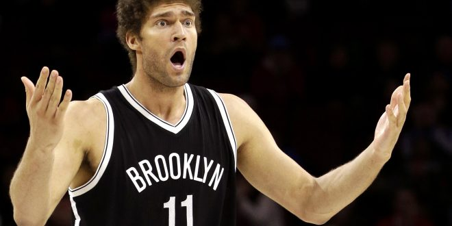 Brooklyn Nets' Brook Lopez reacts altering a foul call during the second half of an NBA basketball game against the Philadelphia 76ers, Saturday, March 14, 2015, in Philadelphia. Brooklyn won 94-87. (AP Photo/Matt Slocum)